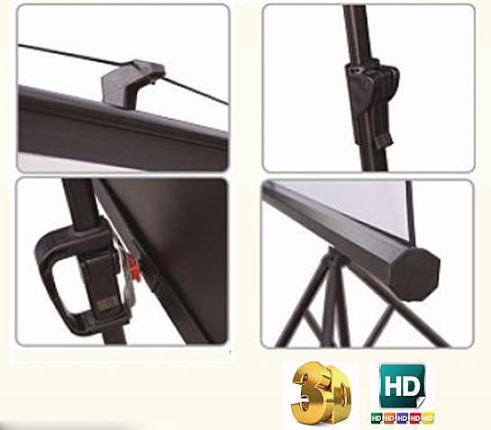 High gain 2.1 glass beaded tripod projector screen