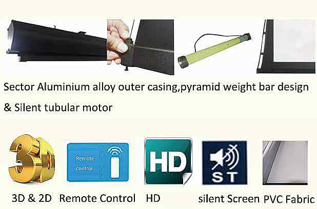 "100 "" PVC fabric tab tension projector screen details"