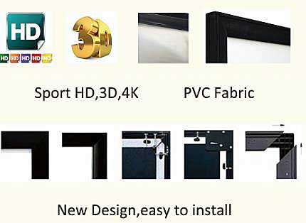 "84"" PVC fabric fixed frame projector screen details"